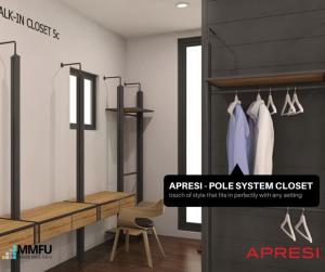 Aluminium Walk in Wardrobe Pole System